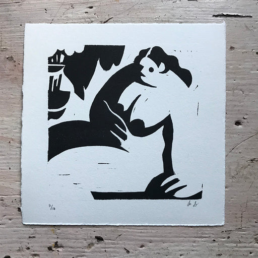 'Seated Woman' Linocut