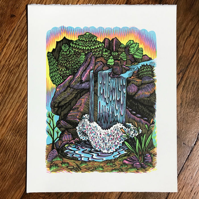 """Waterfall"" handmade original color woodcut"