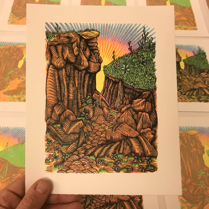 """Canyon"" handmade original color woodcut"