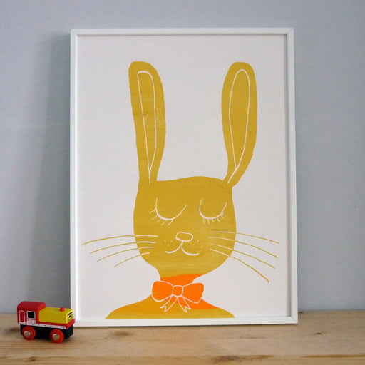 Bunny Rabbit screenprint on paper for children's room, baby nursery