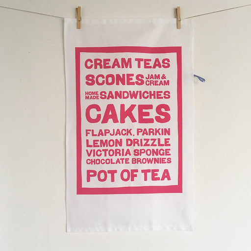Cake Menu Screenprinted cotton tea towel