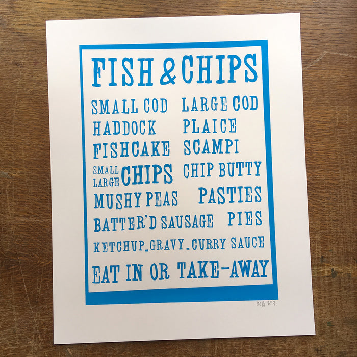 Fish and Chips retro-style menu screenprint on paper
