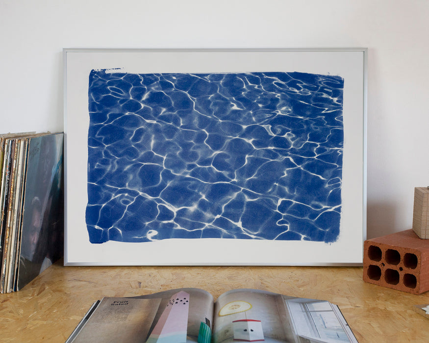 """Hollywood Pool House Glow"" / Cyanotype Print on Watercolor Paper /50x70 cm / Limited Edition"