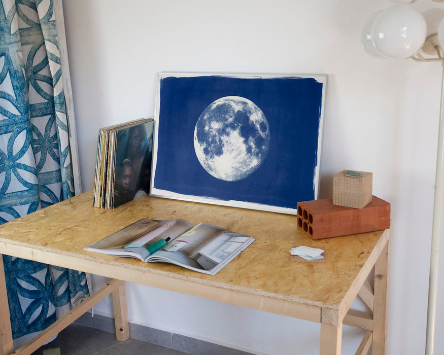 Full Moon Large Cyanotype Print on Watercolor Paper / 50x70 cm / Limited Edition