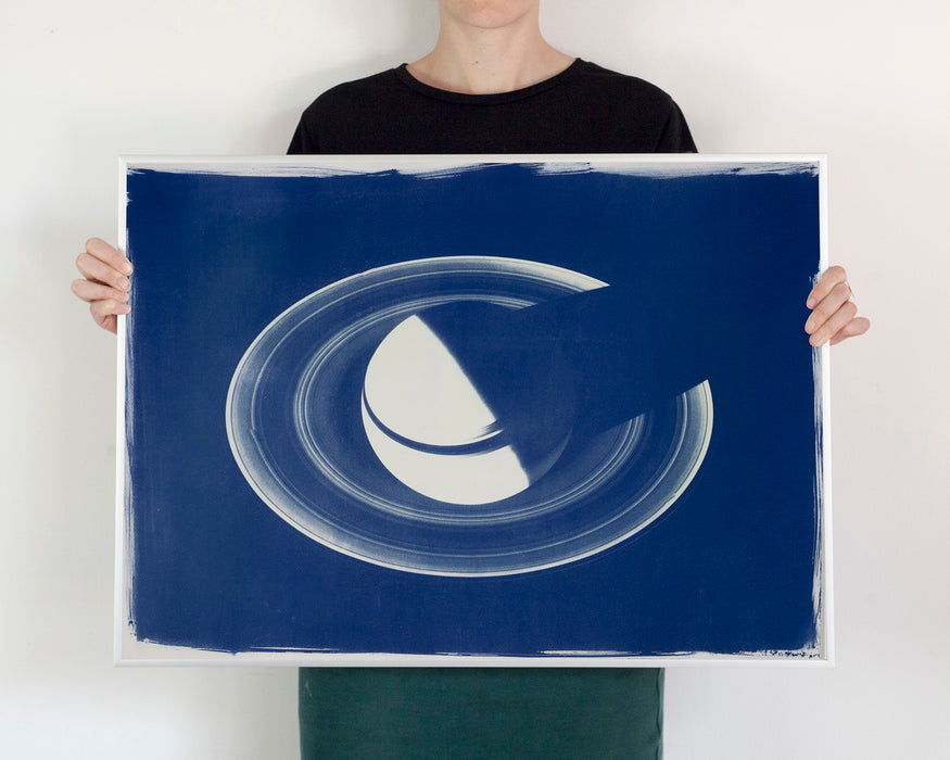 Saturn with Rings / Large Cyanotype Print on Watercolor Paper / Limited Edition / Handmade