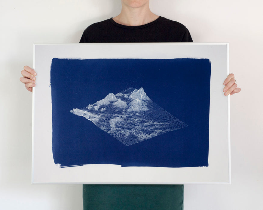 Digital Mountain Landscape Render / Large Cyanotype Print (50x70 cm) on Watercolor Paper / Limited Edition