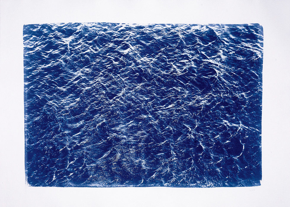 Colossal Handprinted Cyanotype Print: Pacific Ocean Currents / 100x70cm / Limited Edition /