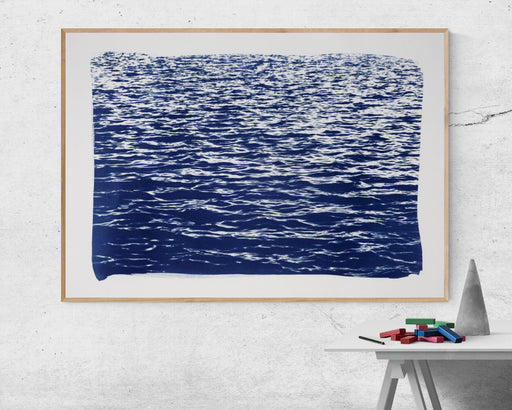 "Handmade Limited Edition Cyanotype Print on Watercolor Paper,"" Blue Waves Seascape"" 100x70cm"