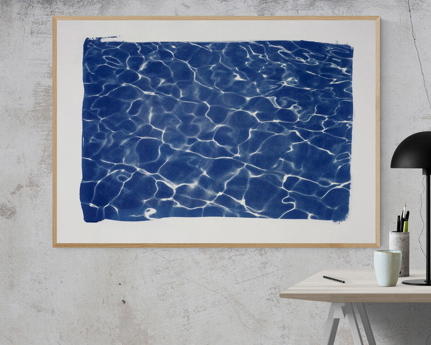 Handmade Large Cyanotype Print: Hollywood Pool House Glow / 100x70cm / Limited Edition