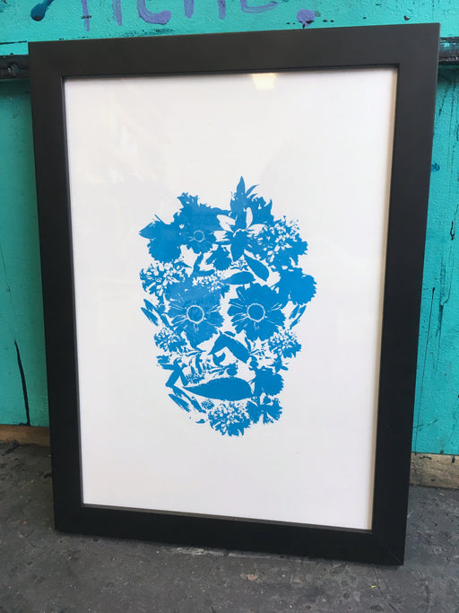 Flower Skull #3 - Blue - Screenprint