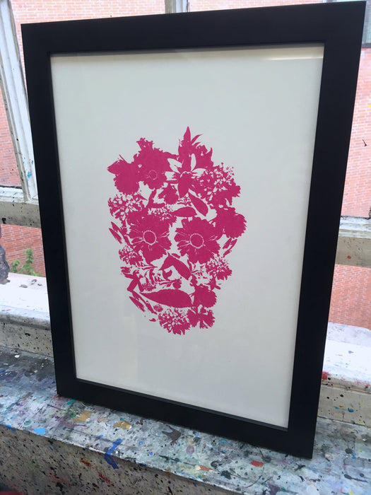 Flower Skull #2 - Pink - Screenprint