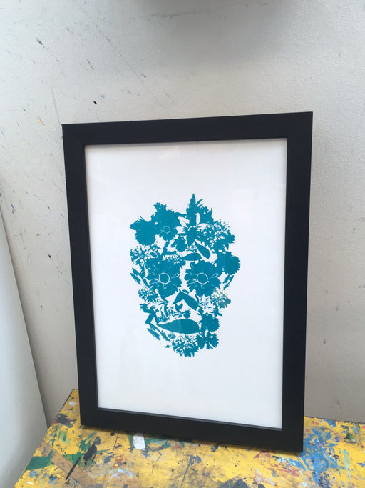 Flower Skull #1 - Green - Screeprint