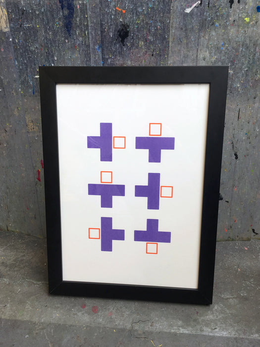 Blocky #2 - Purple and Orange - Geometric Screenprint