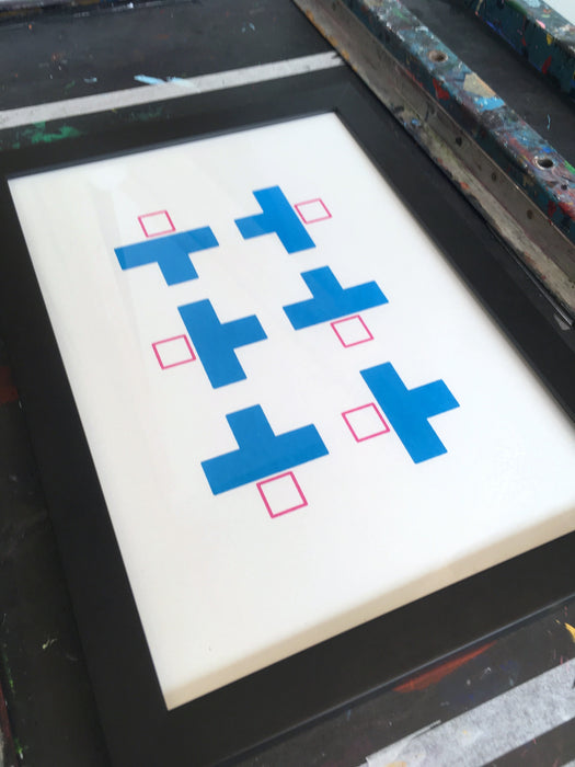 Blocky #2 - Blue and Pink - Geometric Screenprint
