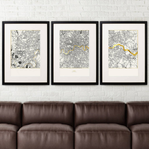 Large Set of 3 London Metallic Maps