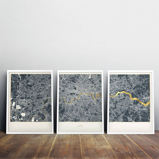 Small Set of 3 Metallic London Maps