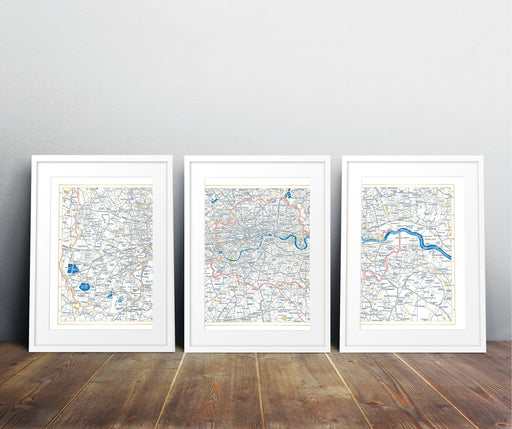 Set of 3 Vintage Style Metallic Maps