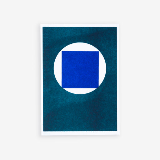 Blue Square in Teal Circle | Riso Postcard