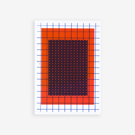 Minimalistic Pattern on Red | Riso Postcard