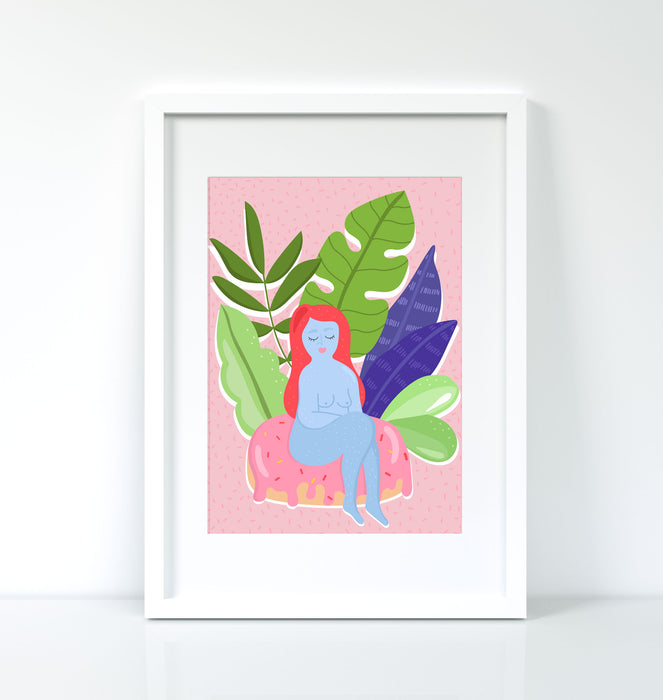 Naked Lady A5 or A4 Print ~ Tropical Lady Digital print