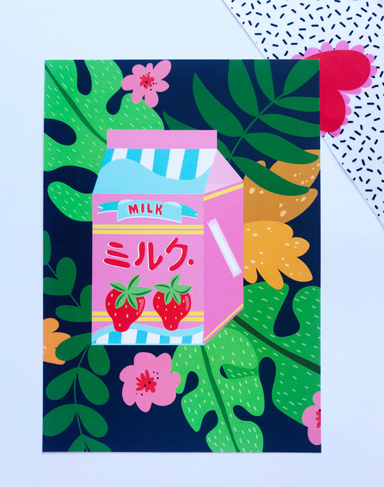 Japanese style Tropical Milk A5 or A4 Digital Print