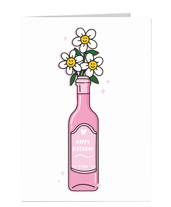 Happy Birthday- Rose wine - A6 Card