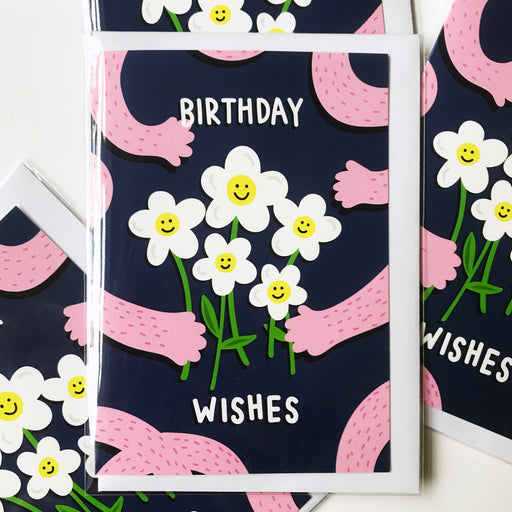 Birthday Wishes - Birthday Card - A6 - Daisy / Hand Illustration