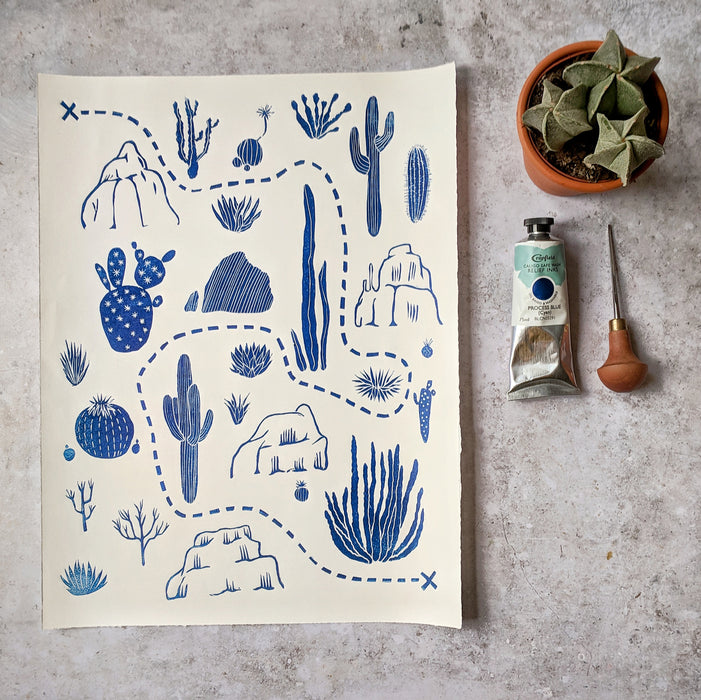 Desert Print with Cactus and Rocks