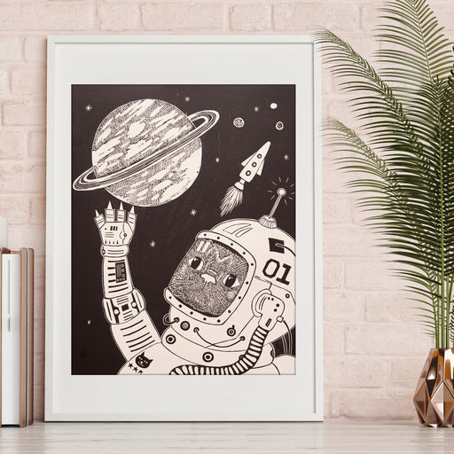 Cat in Space Linocut Print