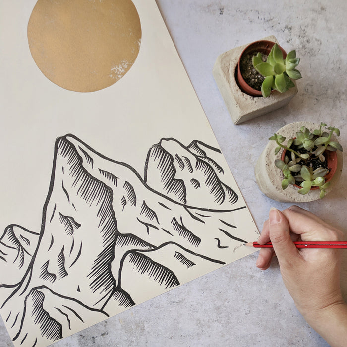 Mountain linocut, mountain print, metallic gold print