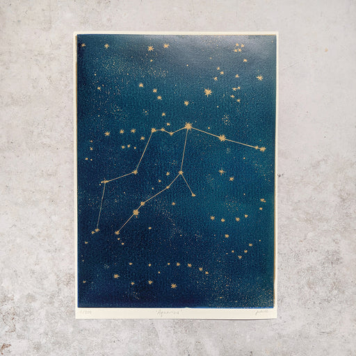 Aquarius Zodiac Constellation Linocut Print, Horoscope, Starsign