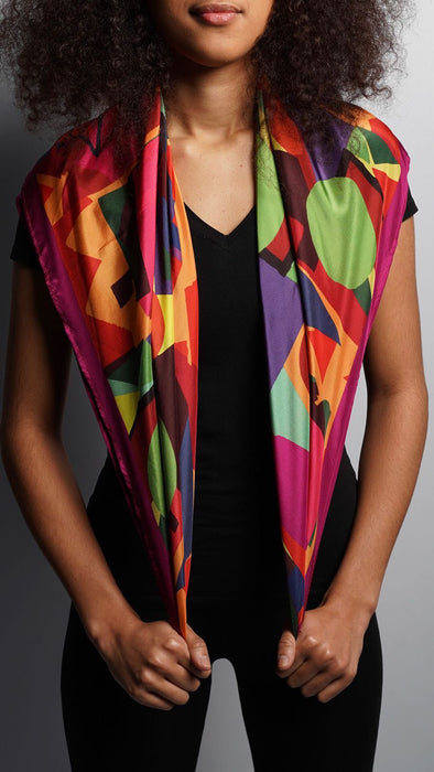 Red Abstract Collage Long Scarf