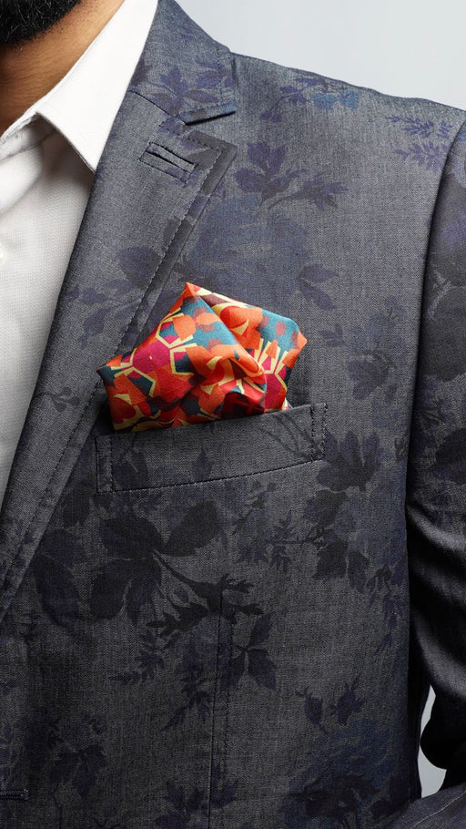Orange Fragmented Geo Pocket Square