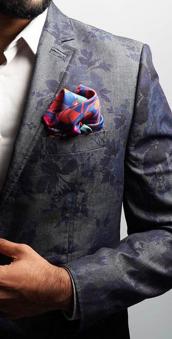 Blue Fragmented Geo Pocket Square