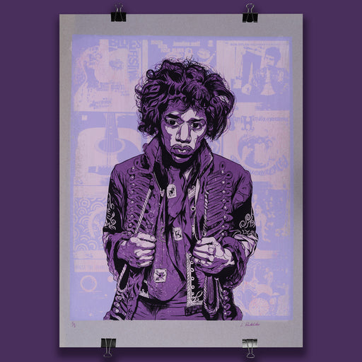 Hendrix Poster Purple Distressed Unique Variant