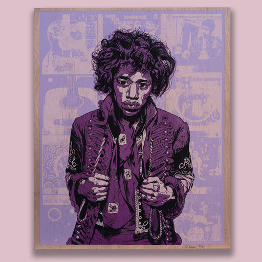 Hendrix Poster 'Purple on Wood Edition'