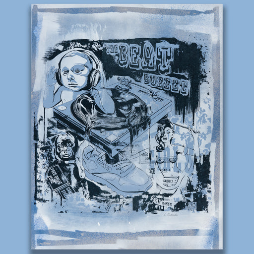 The Beat Buffet - White & Blue spray paint variant