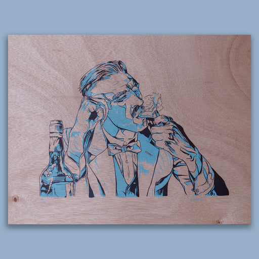 Arthur Shelby (Peaky Blinders) 2 colour screen print on wood panel by LP - Blue variant
