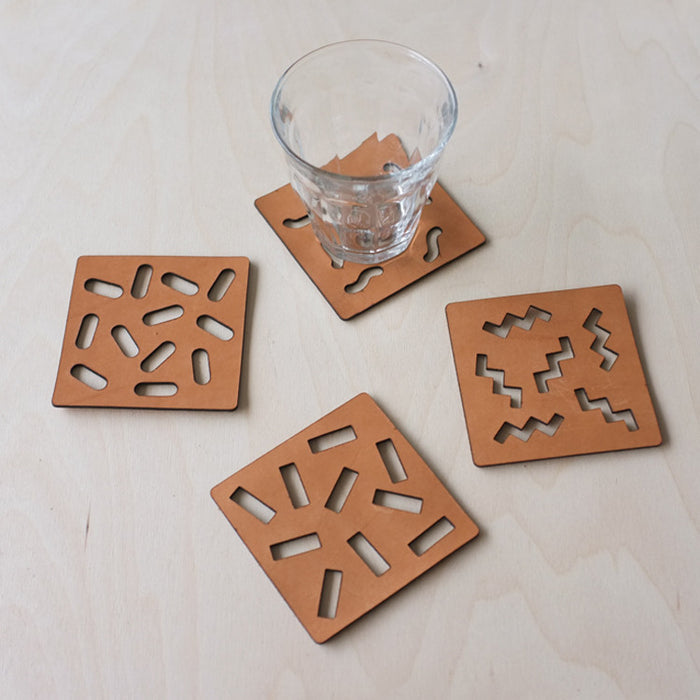 Ettore Leather Laser Cut Coasters