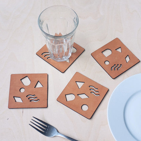 Shape Leather Laser Cut Coasters