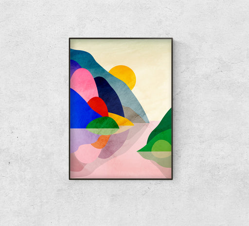 Mountains and the lake. Art print. Mountains poster.