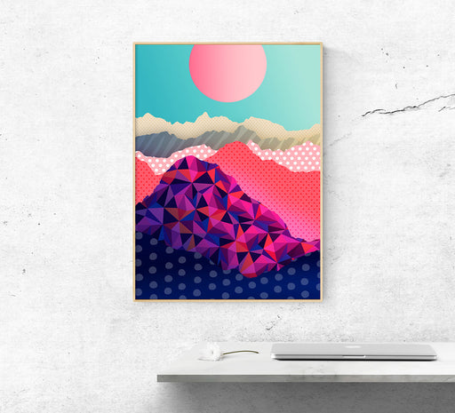 Layers of beautiful neverending mountins. Landscape art print.