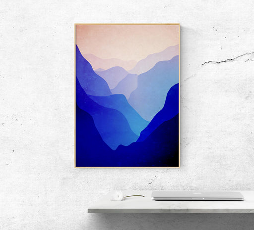 Valley between mountains. Layers of beautiful neverending mountains. Print for mountain lovers.