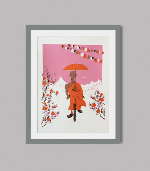 The Cycling Monk - A3 Hand Pulled silkscreen print