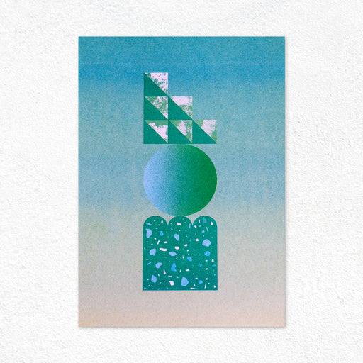 Graphic Sculpture Riso Print - Green