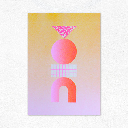 Graphic Sculpture Riso Print - Orange