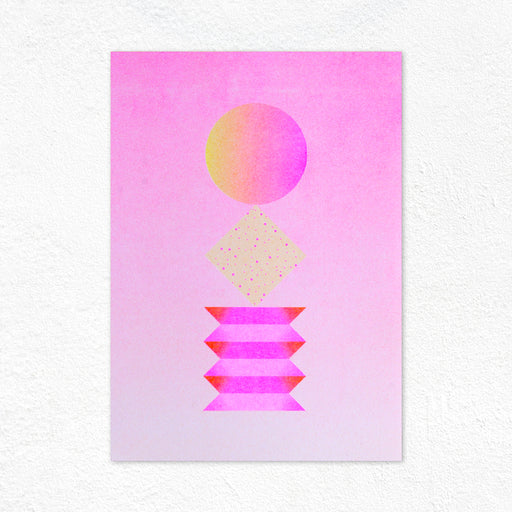 Graphic Sculpture Riso Print - Pink