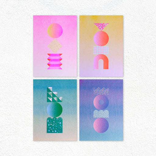 Graphic Sculpture Riso Prints - Set of 4