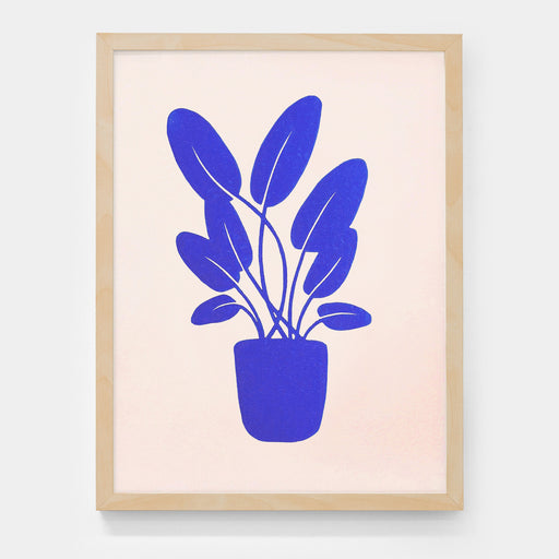 "Limited edition linocut print ""Plante bleue"""