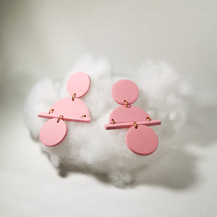 Pink geometric earrings